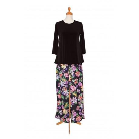 A-line Shirt schwarz Hose Blume